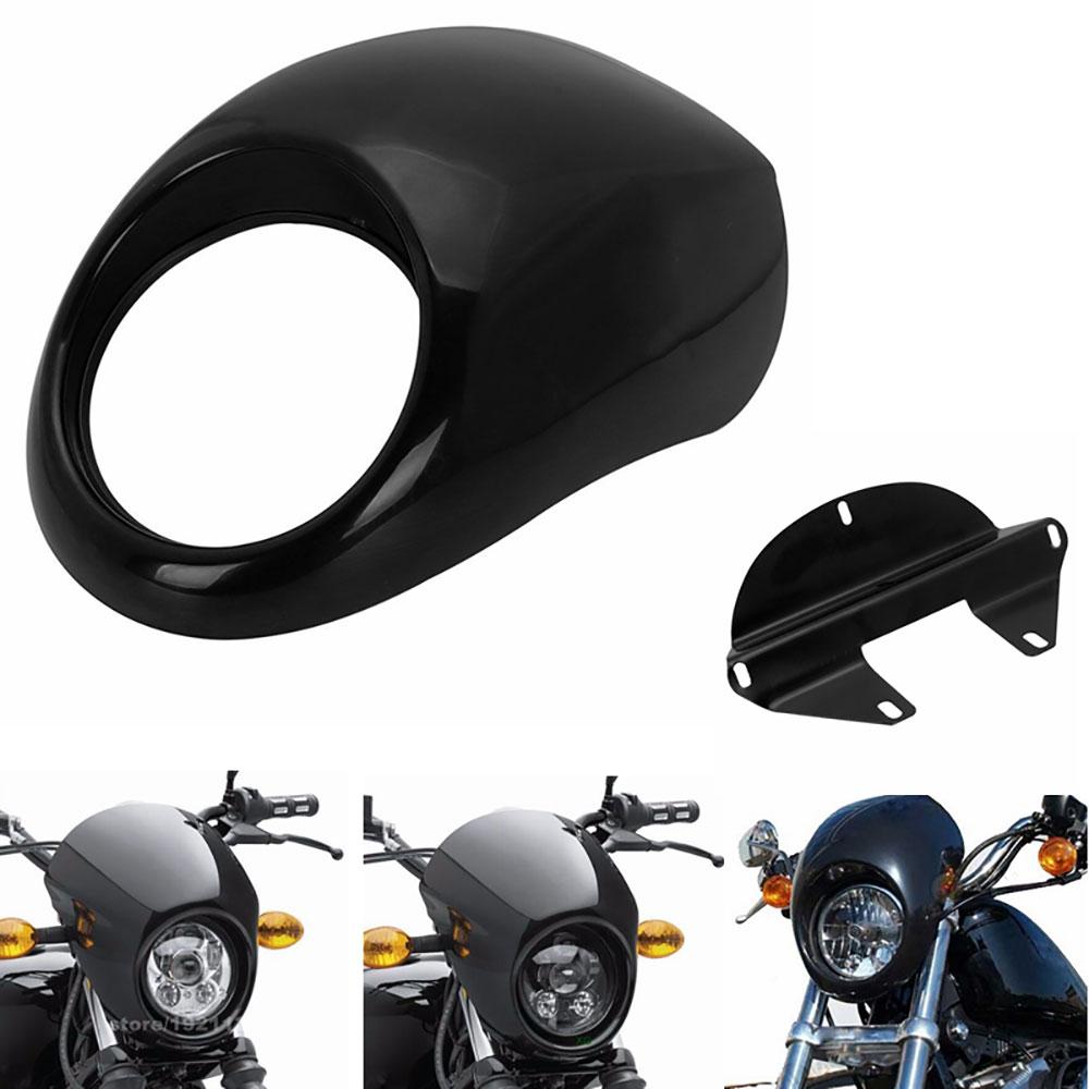 Black-Headlight-Front-Visor-Fairing-Cool-Mask-Bezel-For-Harley-Davidson-Dyna-Fat-Bob-Low-Rider Esthetique